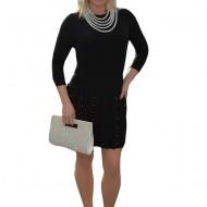 Rochie trendy cu pliseuri mari si decor de margele, nuanta neagra