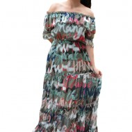 Rochie vaporoasa Veerel cu imprimeu modern ,nuanta de verde