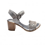 Sanda clasica cu varf decupat si model perforat, culoare argintiu