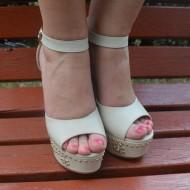 Sandale cu toc inalt, casual, in nuante de bej