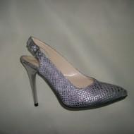 Sandale cu toc inalt, varf ascutit , argintii