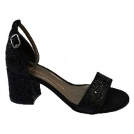 Sandale cu toc mediu negre cu sclipici