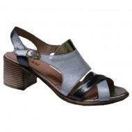 Sandale cu toc negru-argintiu