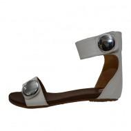 Sandale fara toc, cu un design aprte, in nuante albe
