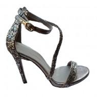 Sandale fashion Andalouse,toc cui,nuanta de auriu cu sclipici