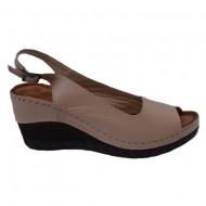 Sandale piele cu platforrma nuanta de bej