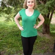 Tricou tineresc, lejer si comod, nuanta de verde, design simplu