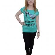 Tricou tineresc, model lung, culoare turcoaz cu design deosebit
