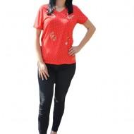 Tricouri casual, cu buline, in nuante de alb-rosii