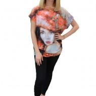 Bluza Alora cu design fashion,nuanat de portocaliu