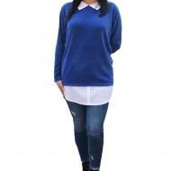 Bluza Ava casual-buusiness cu tricot din catifea ,nuanta de albastru