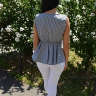 Bluza casual, cu dungi fine negru-alb