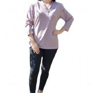 Bluza casual, de culoare mov cu inserti de dantela