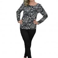 Bluza casual de nuanta negru-alb, din material fin, cu maneci lungi