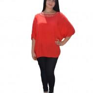 Bluza confortabila din material subtire, de vara, nuanta de rosu