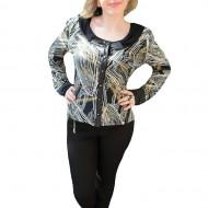 Bluza cu decolteu rotund, nuanta negru-alb, imprimeu abstract