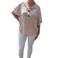 Bluza dama lejera Adeline accesorizata cu nasture ,nuanta de pudra