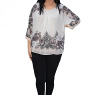 Bluza de ocazie din material tip voal ,ivoary cu imprimeu floral pudra