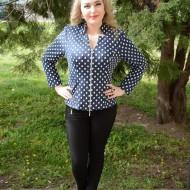 Bluza de primavara, toamna, maneca lunga, bleumarin cu alb