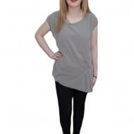 Bluza de vara cu pliuri pe o parte, culoare gri, cu lungime asimetrica