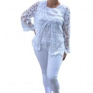 Bluza de vara tip cardigan Agata ,model brodat si insertii de dantela,nuanta de alb