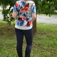 Bluza deosebita cu maneca scurta, masura mare, bleumarin-rosu