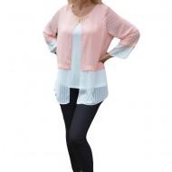 Bluza eleganta cu aspect de doua piese, bicolora, alb-pudra