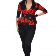 Bluza eleganta Tania,imprimeu floral,nuanat de negru