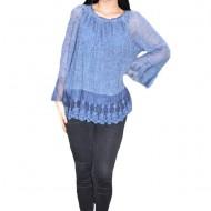 Bluza Elena din tricot cu insertii de dantela ,nuanta de bleumarin
