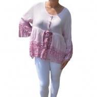 Bluza lejera Carina cu insertii de dantela ,nuanta de roz