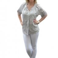 Bluza lejera de vara cu maneca scurta si model brodat, nuanta gri