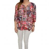Bluza lejera de zi, model multicolor divers cu nasturi, in nuanta de rosu