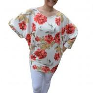 Bluza lejera Emilia cu imprimeu floral rose pe fond alb