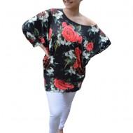 Bluza lejera Emilia cu imprimeu floral rose pe fond negru