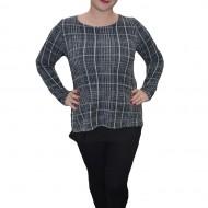 Bluza moderna cu maneca lunga de culoare gri cu voal negru