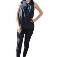 Bluza rafinata, culoare neagra, cu guler mic decorat cu margele