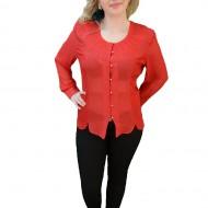 Bluza rafinata de ocazie, nuanta rosie, design brodat la decolteu