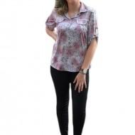 Bluza roz cu model casual, maneca scurta si guler rotunjit