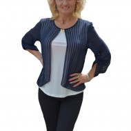 Bluza tinereasca cu design de dungi bleumarin, fond nuanta alba