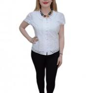Bluza tinereasca, nuanta de alb, maneca scurta, design floral