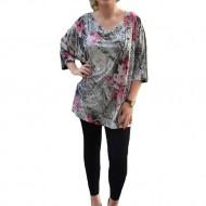 Bluza tip tunica, masura mare, prevazuta cu imprimeu gri-roz