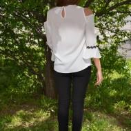 Bluza trendy de ocazie, model tineresc cu design negru pe fond alb