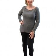 Bluza tricotata de toamna, in nuante de gri, maneci lungi