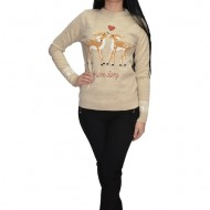Bluza tricotata Love Story cu insertii de margele ,nuanta de bej