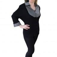 Bluze cu maneca trei-sferturi, negre-gri, guler tip camasa
