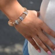 Bratara argintie cu strasuri cristaline si inchidere cu perla mare