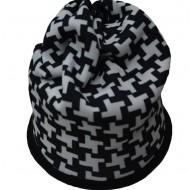 Caciula multifunctionala din material calduros, de nuanta negru-alb