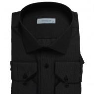 Camasa barbateasca casual,model modern,dunga neagra la buzunare,nuanta de negru