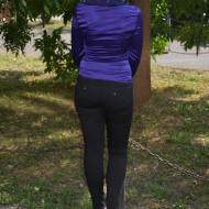 Camasa cu maneca lunga, mov, cu guler deosebit si fermoar