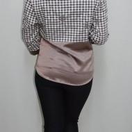 Camasa de ocazie cu maneca trei-sfert, maro, cu model de carouri